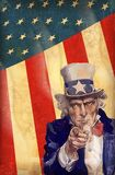 Uncle Sam. Patriotic usa background with uncle sam vector Stock Photos
