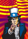 Uncle Sam. In the classic I Want You pose Royalty Free Stock Photo
