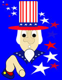 Uncle Sam. With stars and stripes, illustration Royalty Free Stock Image