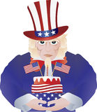 Uncle Sam with 4th of July Birthday Cake. Uncle Sam with Fourth of July Birthday Cake for Independence Day Celebration Illustration Isolated on White Background Royalty Free Stock Photos