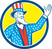 Uncle Sam American Hand Up Circle Retro Stock Image