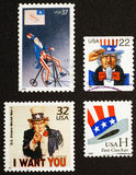 Uncle Sam on american postage stamps. US postage stamps depicting the famous character of Uncle Sam stock photo