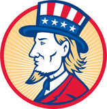 Uncle Sam American Side. Illustration of Uncle Sam wearing hat with stars and stripes American flag viewed from side set inside circle Royalty Free Stock Photography