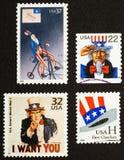Uncle Sam auf amerikanischen Briefmarken Stockfoto