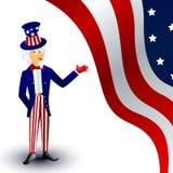 Uncle Sam Auf einem amerikanischen Hintergrund Lizenzfreies Stockfoto