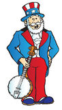 Uncle Sam with banjo. Uncle Sam standing and holding a banjo Royalty Free Stock Photo