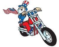 Uncle sam biker. Uncle Sam riding a chopper motorcycle stock illustration