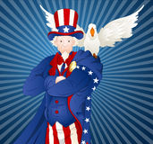Uncle Sam with Bird. Cartoon Old Uncle Sam Character with Bird Vector Illustration stock illustration