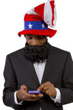 Uncle Sam. Black man playing as Uncle Sam American Mascot royalty free stock images