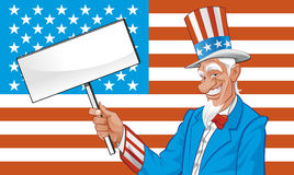 Uncle sam with blank sign Stock Photos