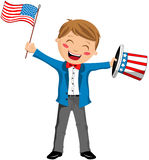 Uncle Sam Boy with Hat and USA Flag. Cartoon boy uncle Sam smiling and holding hat and waving USA flag isolated on white background. Eps file is available  You Royalty Free Stock Photo