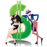 Uncle Sam, Bunny Girl and Dollar. Royalty Free Stock Image