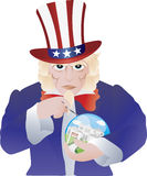 Uncle Sam Bursting the Real Estate Bubble Royalty Free Stock Photography