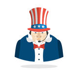 Uncle Sam call center. Uncle Sam and headset. Symbol of America Stock Photography
