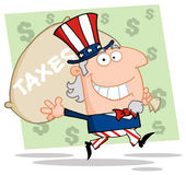 Uncle sam carrying a taxes bag Royalty Free Stock Images