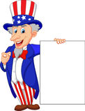 Uncle sam cartoon with blank sign Stock Image