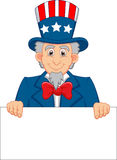 Uncle Sam cartoon and blank sign. Illustration of Uncle Sam cartoon and blank sign Stock Photos