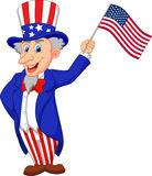 Uncle Sam cartoon holding American flag Stock Images