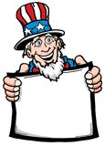 Uncle Sam. Cartoon of Uncle Sam holding a blank sign Royalty Free Stock Photo