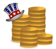 Uncle sam and coins illustration Stock Photos