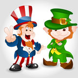 Uncle Sam with Cute Leprechaun Stock Photos