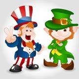 Uncle Sam with Cute Leprechaun Stock Photos