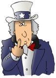 Uncle Sam den Vogel leicht schlagend Stockbilder