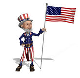 Uncle Sam Displays the US Flag Stock Photography