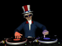 Uncle Sam DJ. Uncle Sam's in the House and spinning some patriotic tunes. Turntables with vinyl albums Stock Photo