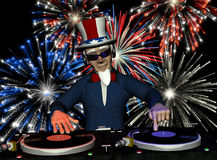Uncle Sam DJ - Fireworks. Uncle Sam's in the House and spinning some patriotic tunes. Turntables with vinyl albums and a fireworks light show Royalty Free Stock Photo
