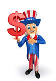 Uncle Sam with dollar sign Royalty Free Stock Photos