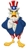 Uncle Sam eagle. American bald eagle dressed as Uncle Sam pointing with his finger making I want you gesture Royalty Free Stock Image