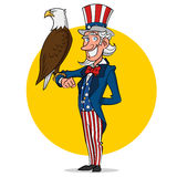 Uncle Sam and eagle. Vector illustration Royalty Free Stock Photo