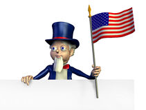 Uncle Sam with Edge of Blank Sign - with clipping path Royalty Free Stock Image