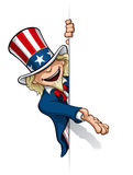 Uncle Sam Eine Fahne darstellend Stockfotografie