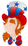 Uncle Sam Face Closeup. Funny Old Cartoon Uncle Sam Character Face Closeup Vector Illustration vector illustration