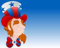 Uncle Sam Face Closeup Vector. Cartoon Old Uncle Sam Character Face Closeup Vector Illustration Royalty Free Illustration