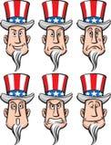 Uncle Sam Faces Set Stock Photos