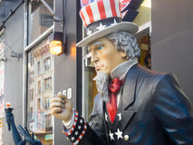 Uncle Sam figure next to a souvenirs shop in New York. City stock photos