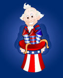 Uncle Sam with Fireworks Vector. Happy Old Patriotic Cartoon Uncle Sam Holding Fireworks in Hat Vector Illustration vector illustration