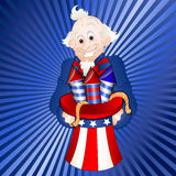 Uncle Sam with Fireworks. Vector Illustration of Old Happy Cartoon Patriotic Uncle Sam Holding Fireworks in Hat Royalty Free Stock Images