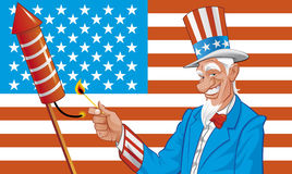 Uncle sam in fourth of july. Vector illustration Uncle sam y fourth of july Royalty Free Stock Image