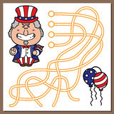 Uncle Sam game. Vector illustration of maze(labyrinth) game with cute Uncle Sam for children Royalty Free Stock Photos
