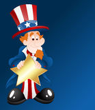 Uncle Sam with Golden Star Badge. Conceptual Drawing Art Cartoon Uncle Sam Character Holding Golden Star Badge Vector Illustration vector illustration