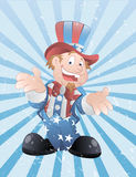 Uncle Sam Grunge Vector. Cartoon Young Happy Uncle Sam Character Portrait Vector Illustration royalty free illustration