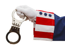 Uncle Sam Handcuffs. President Holding Handcuffs Isolated on White Background Royalty Free Stock Image