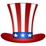 Uncle Sam Hat. Uncle Sam Stripes and Stars Red Blue White Hat Illustration Stock Photos