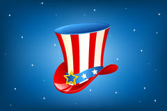 Uncle Sam Hat. Illustration of Qncle Sam hat on abstract background Royalty Free Stock Images