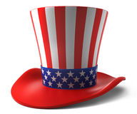 Uncle Sam hat. US stars and stripes hat over white background Royalty Free Stock Photos