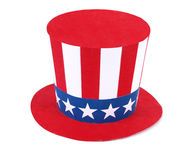 Uncle Sam hat. On a white stock photography